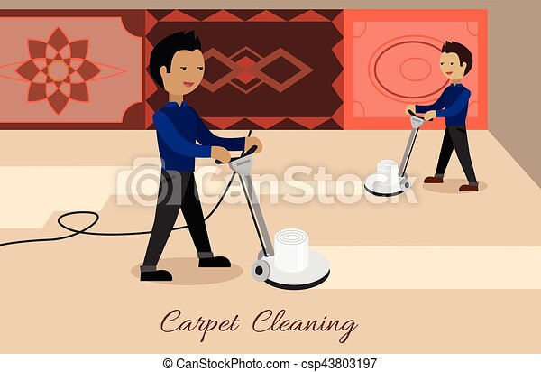 Carpet Cleaning Vector Concept in Flat Design - csp43803197