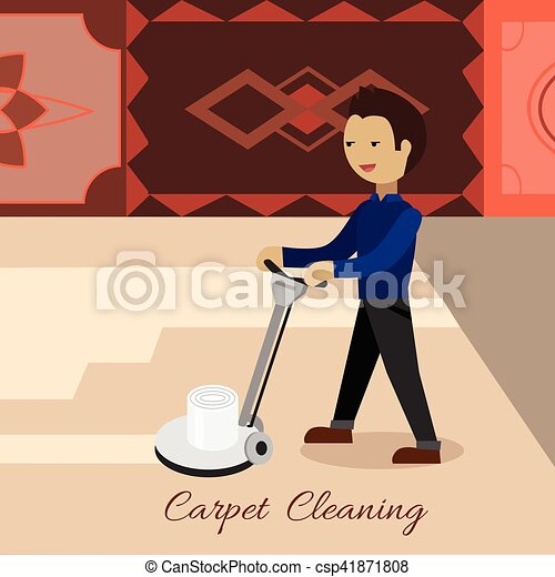 Carpet Cleaning Vector Concept in Flat Design - csp41871808