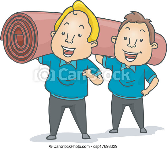 Illustration Of Carpet Installers Or Cleaners Carrying A