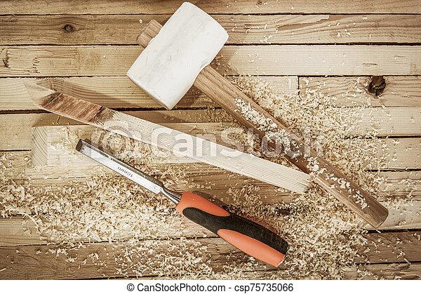 carpintería, herramientas, tablas, plano de fondo - csp75735066