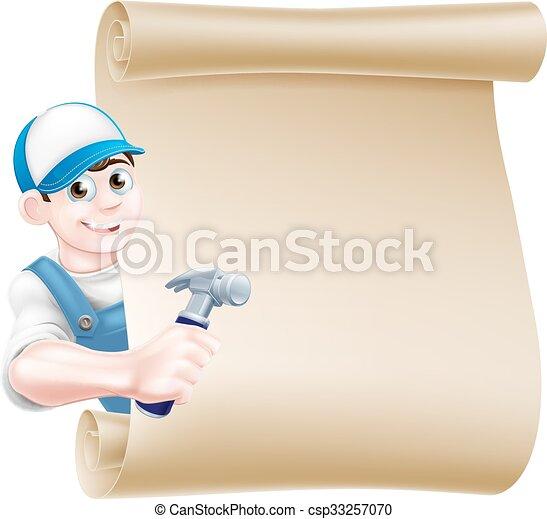 Señal de carpintero martillo de cartón - csp33257070