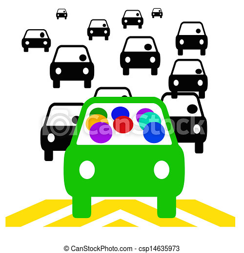 carpool commute green vehicle with passengers in traffic stock rh canstockphoto com  carpool clipart free