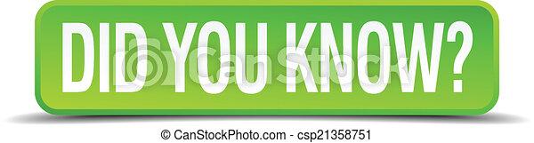 carrée, did, bouton, isolé, réaliste, vert, savoir, vous, 3d - csp21358751