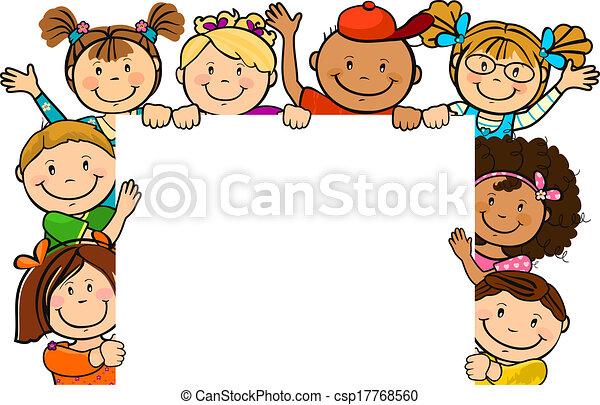 carrée, feuille, enfants, ensemble - csp17768560