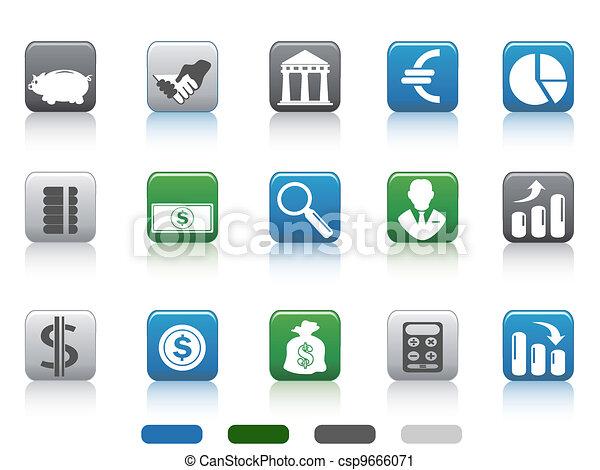 carrée, finance, icônes, simple, bouton, banque, ensemble - csp9666071