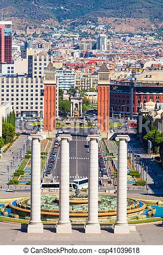 Carte Barcelone Place Despagne.Carree Place De Barcelone Espagne Espana Carree Premier Plan