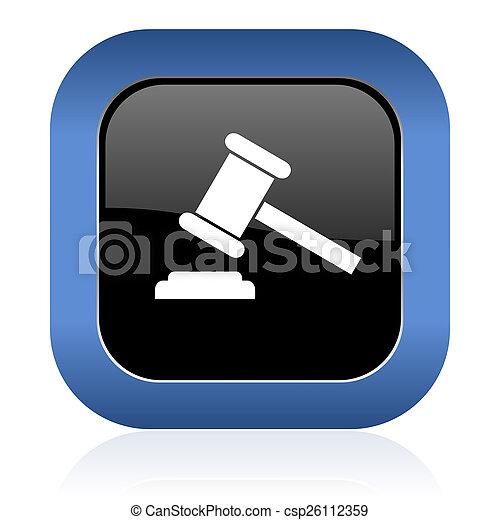 carrée, tribunal, enchère, symbole, signe, verdict, lustré, icône - csp26112359