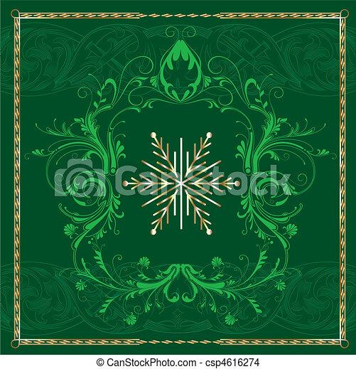 carrée, vert, flocon de neige - csp4616274