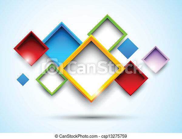 carrés, coloré, fond - csp13275759