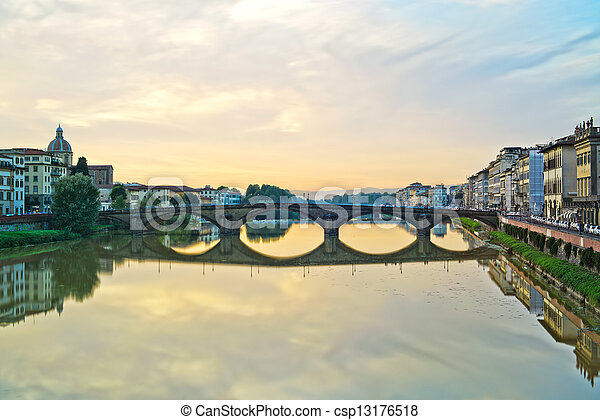 Carraia medieval Bridge on Arno river, sunset landscape. Florenc - csp13176518