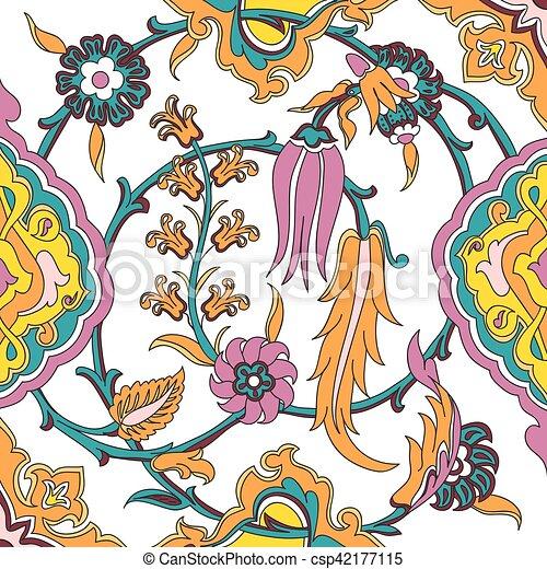 Carreau Ancien Modèle Floral Vecteur Oriental Arabesque Ethnique Floral Arabe Dessin Frisé