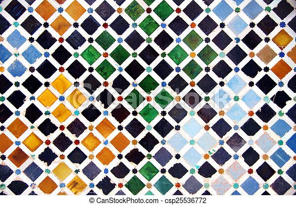 carreau, décoration, palais, alhambra, espagne - csp25536772