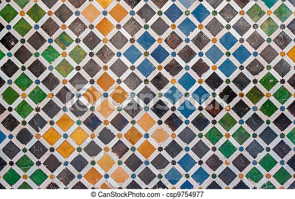 carreau, décoration, palais, alhambra, espagne - csp9754977
