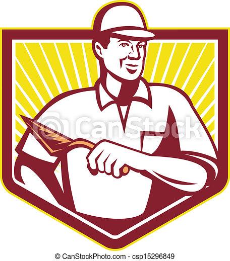 carreleur, ouvrier, maçon, retro, maçonnerie, plâtrier - csp15296849