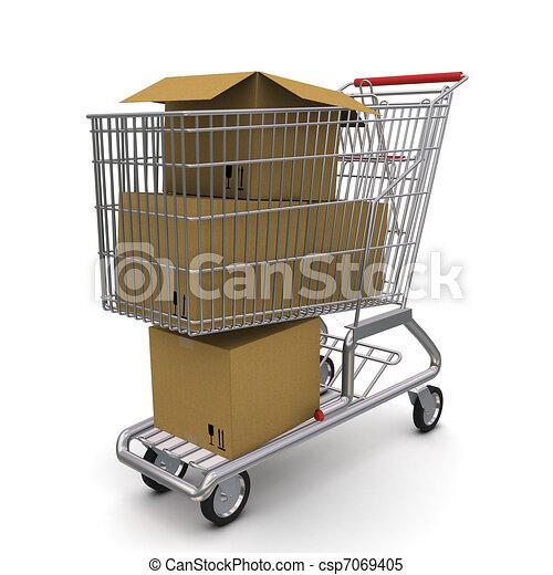 carrello, box., interpretazione, fondo, bianco, cartone, aperto, 3d - csp7069405