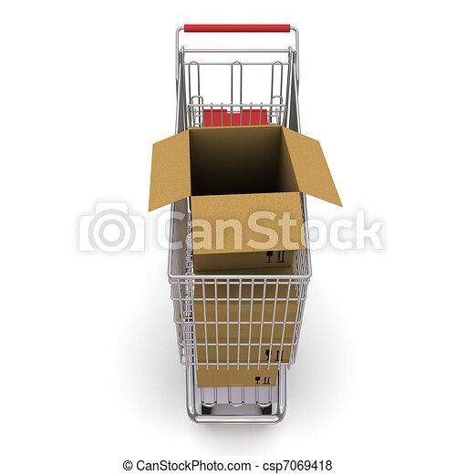 carrello, box., interpretazione, fondo, bianco, cartone, aperto, 3d - csp7069418