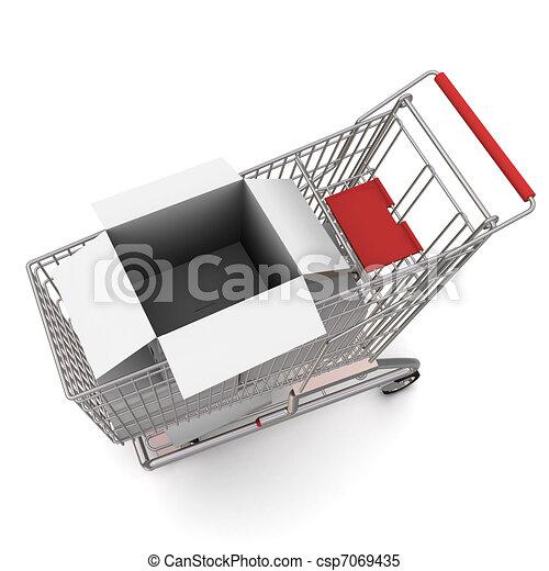 carrello, box., interpretazione, fondo, bianco, cartone, aperto, 3d - csp7069435