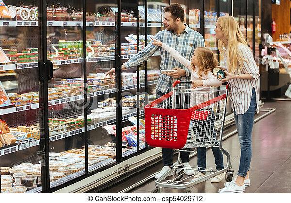 carrello, shopping, supermercato, famiglia - csp54029712