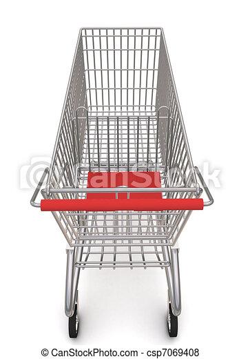 carrello, supermarket., interpretazione, fondo, bianco, 3d - csp7069408