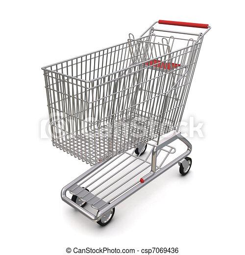 carrello, supermarket., interpretazione, fondo, bianco, 3d - csp7069436