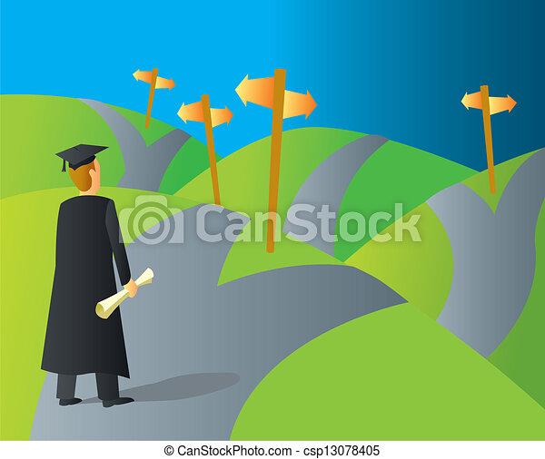 Caminos de carrera universitaria - csp13078405