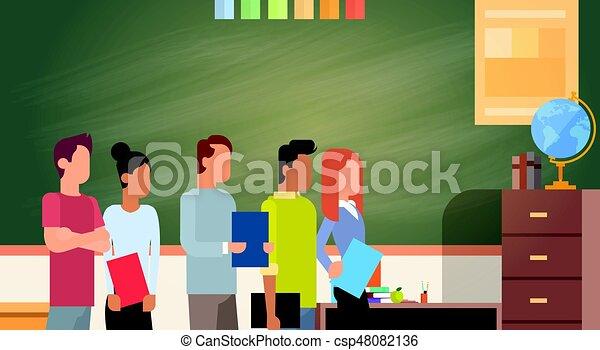 carrera, grupo, estudiante, pizarra, encima, mezcla, libros, verde, tenencia, educación, universidad - csp48082136