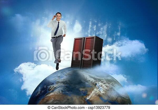 Hombre de negocios corriendo encima de la mujer - csp13923779