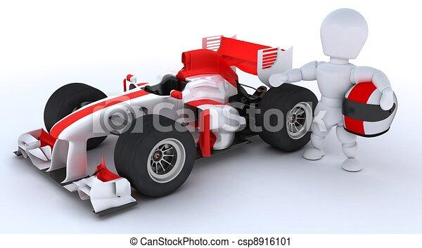 Hombre con auto de carreras - csp8916101