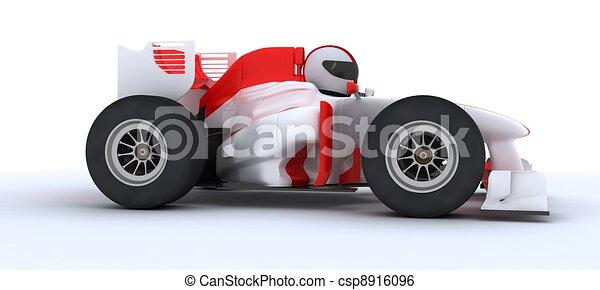 Hombre con auto de carreras - csp8916096