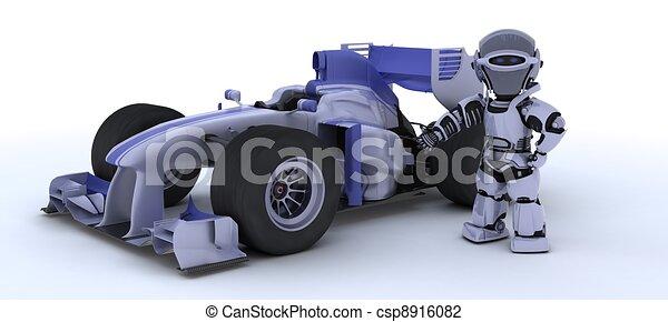 Robot con un auto de carreras - csp8916082