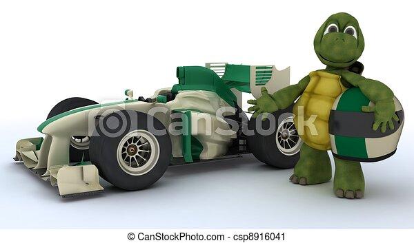 Tortoise con auto de carreras - csp8916041