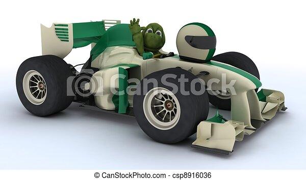 Tortoise con auto de carreras - csp8916036