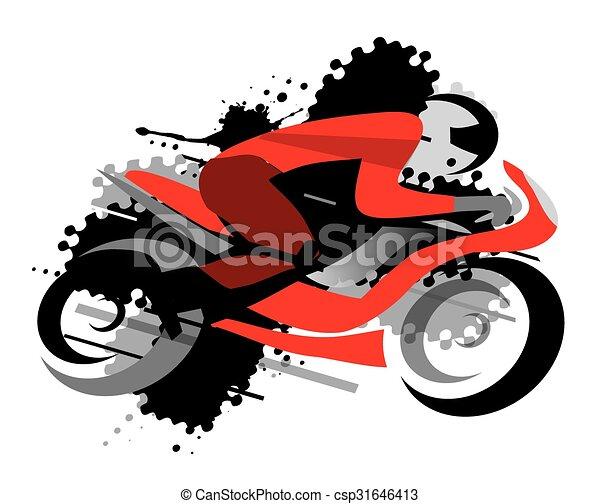 Carreras Moto Grunge Fondo Vector Motocicleta Competidor