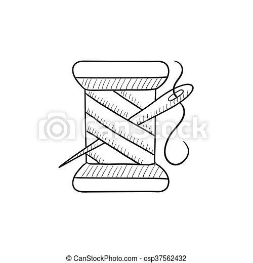 Un carrete de hilo y un icono de dibujo de aguja. - csp37562432