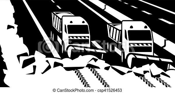 Los camiones de quitanieves despejen la carretera - csp41526453