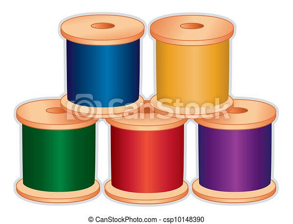 Montones de hilo, colores de joyas - csp10148390