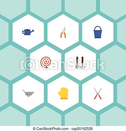 iconos planos manguera de jardín, lata de agua, carretilla y otros elementos vectoriales. Un conjunto de símbolos de iconos planos de jardinería también incluye carretilla, manguera, objetos baldosas. - csp50162526