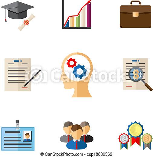 carrière, coloré, icones affaires - csp18830562