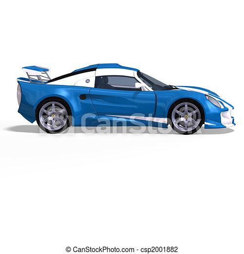 carro azul, branca, correndo, fantasia - csp2001882
