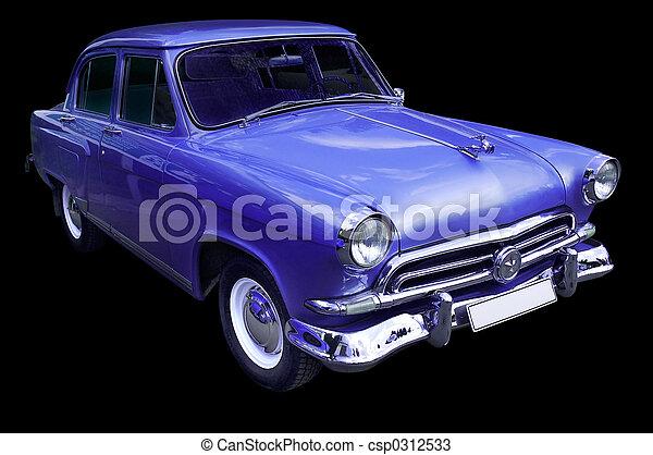 carro azul, clássicas, retro, isolado - csp0312533