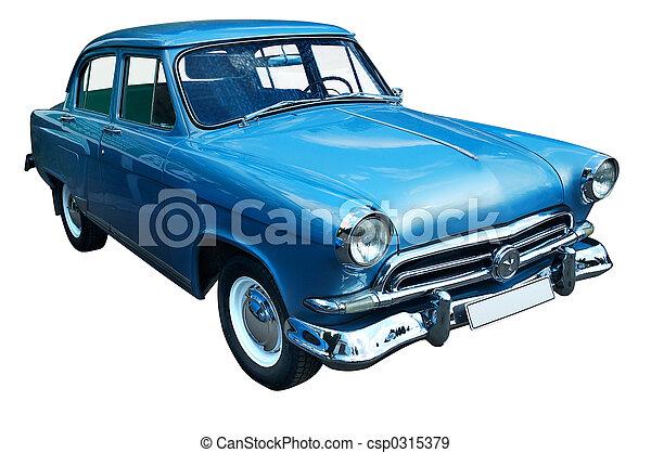 carro azul, clássicas, retro, isolado - csp0315379