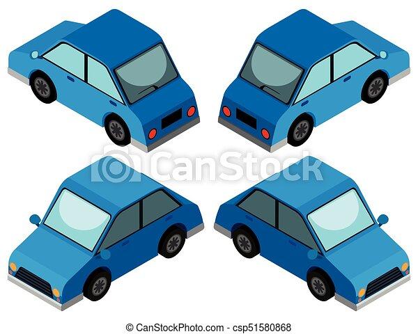 Carro Azul Desenho 3d Carro Azul Desenho Ilustracao 3d