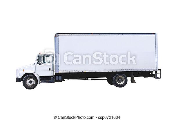 Un camión de reparto blanco aislado - csp0721684