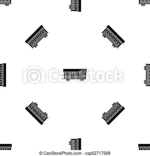 carro passageiro, seamless, trem, pretas, padrão - csp52717568
