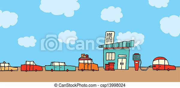 carros, esperando, estação, gás, linha - csp13998024