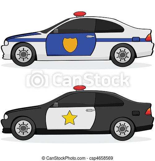 Carros Policia Diferente Policia Carros Dois Illustratin