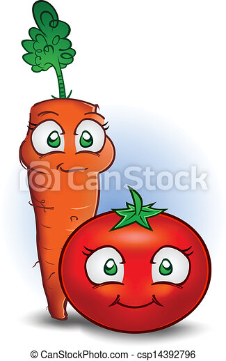 Carrot and Tomato Vegetable Cartoon - csp14392796