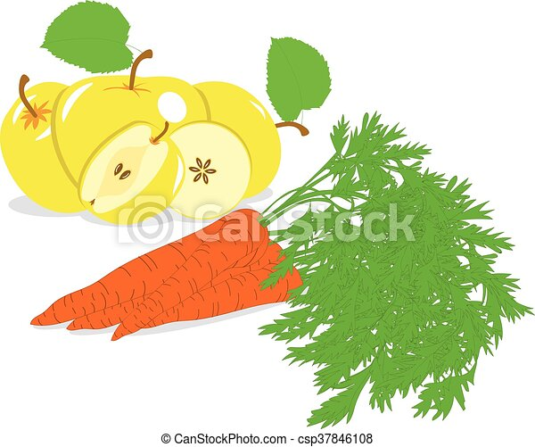 Carrot And Yellow Apple Vector Illustrations On A Transparent