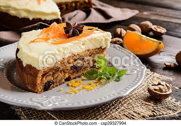 Carrot cake with mascarpone - csp39327994