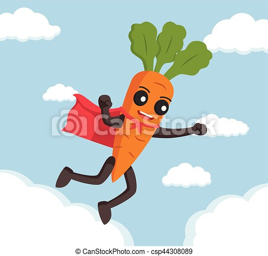 carrot character flying with cape - csp44308089
